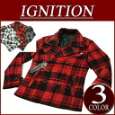 gi172 new article IGNITION shortstop length check wool blend pea coat jacket American casual P coat