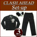 is023 brand new Clash Ahead クロススター letters print velour Jersey top and bottom set men's Setup