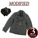 brand new MODIFIED wu032 53% wool short plain Melton wool P coat mens pea coat jacket casual blouson.