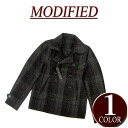 brand new MODIFIED wu034 53% wool short ombre check Melton wool P coat mens pea coat jacket casual blouson.