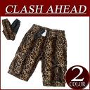 ix041 new article Clash Ahead fake fur panther pattern カーゴショートパンツメンズレオパードアニマルアメカジショーツハーフパンツ