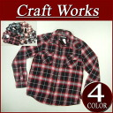 wu131 new article CRAFT WORKS on blurring check long sleeves flannel western shirt men LIGHT FLANNEL OMBRE CHECK WESTERN SHIRT light banian Kraftwerk's American casual CraftWorks
