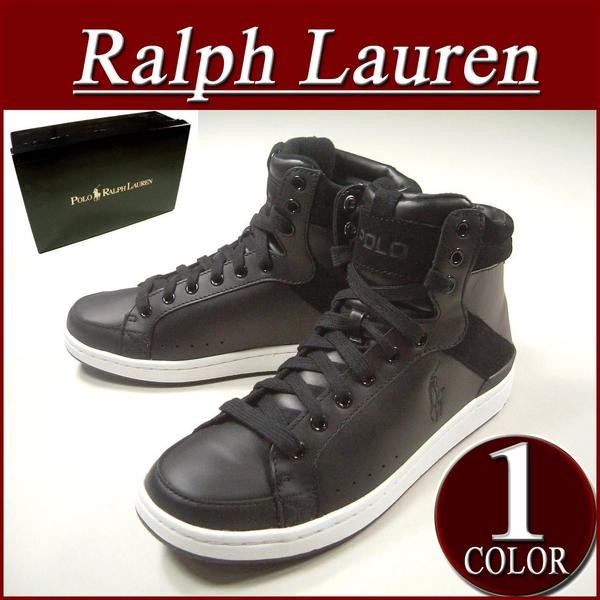 ax572 new article POLO by Ralph Lauren TALBERT HIGH BLACK LEATHER software leather X suede higher frequency elimination sneakers men black shoes RalphLauren ...
