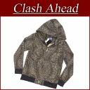 ix711 new article Clash Ahead fake fur panther pattern ダブルジップパーカーメンズアニマルアメカジレオパードフードパーカー leopard pattern ClashAhead