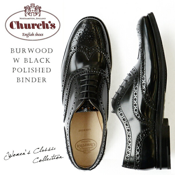 Church's ���㡼�� ��ǥ����� ���å����ե����� ���ʥ�� ������ �졼�����å� �� Burwood W Black Polished Binder ��