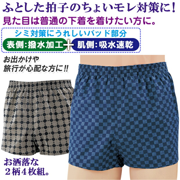 失禁パンツ ロングパッド 尿漏れパンツ 安心パンツ 快適パンツ トランクス セット メンズ 男性用