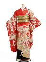 [Rental] long-sleeved kimono rental 113 red hem black butterflies [wedding] [graduation ceremony] [full set] [rental]