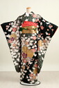 [Kimono rental] rental furisode 95 black cherry piece [wedding] [graduation ceremony] [full set] [rental] [long-sleeved kimono]