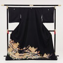 [black formal kimono with a decorated skirt rental] rental formal kimono with a decorated skirt Q4-64 facing Chinese phoenix