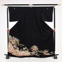 [black formal kimono with a decorated skirt rental] rental formal kimono with a decorated skirt Q4-66 court-cow-carriage crest four seasons floral art