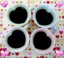 4 Coloured cute hearts mug