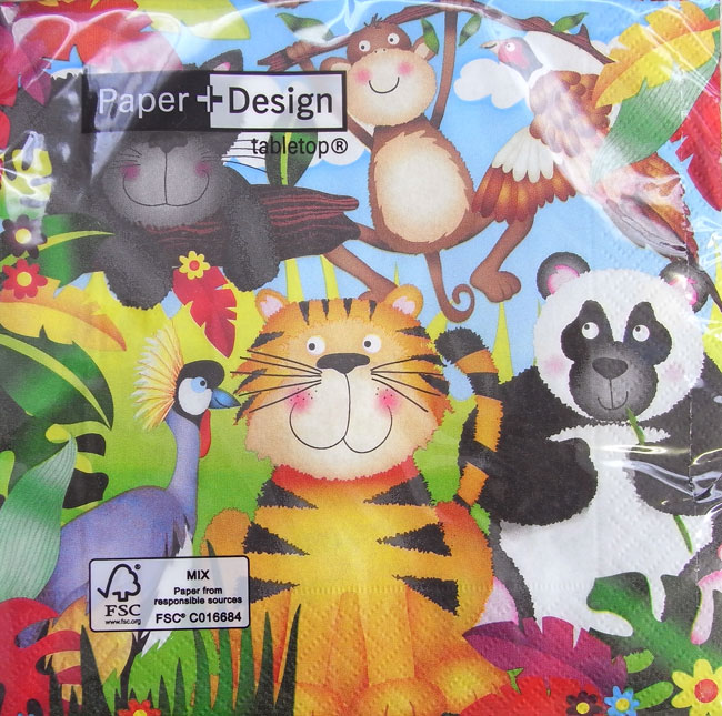 卫生纸 [] 动物园动物 10 件 [纸 + 设计] 纸设计纸餐巾剪纸