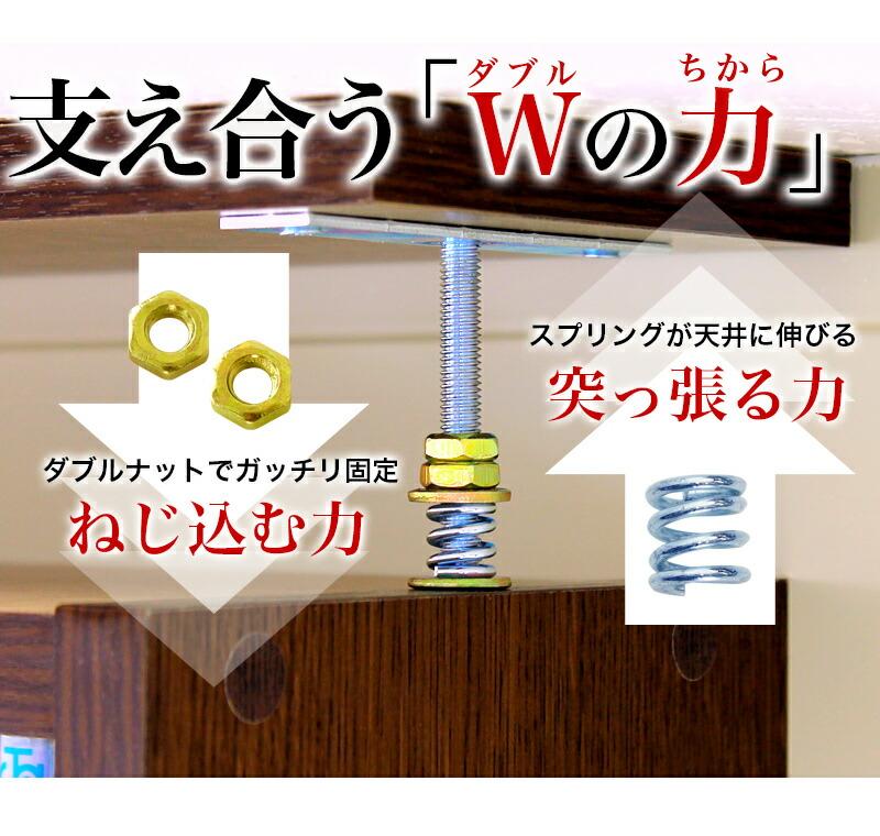 ダブルナットと、スプリングの力で、天井に突っ張る地震策をした本棚