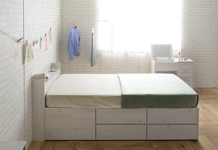 【収納付きベッド寝具収納家具収納付きベット選べる収納ベッドヘッドレスタイプ(ハイタイプ3分割引出し1杯+引出し上下2杯×2)シングル】