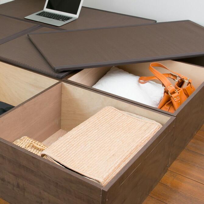 樹脂畳ユニット ハイタイプ 幅120cm 畳を外せば大容量の収納スペースとして活躍します。