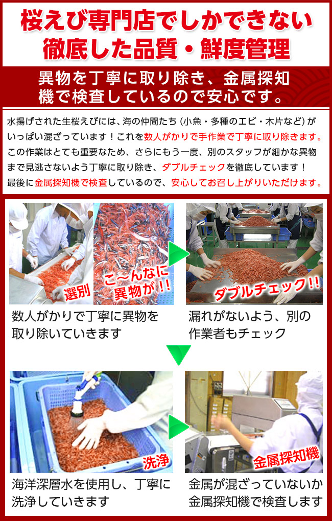 桜えび専門店でしかできない徹底した品質・鮮度管理