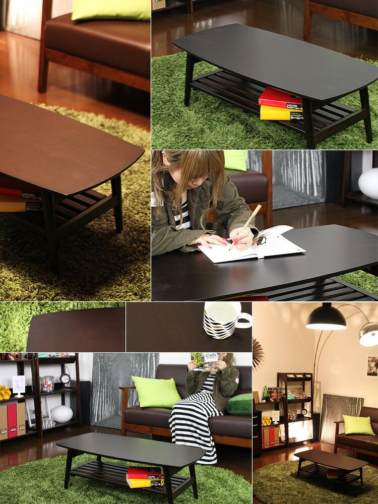 棚付き 折りたたみテーブル CAPPUCCINO(カプチーノ) 幅90cm