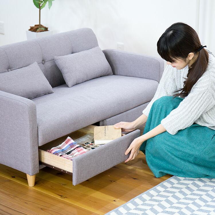 引出し付きソファ「CONTA(コンタ)」の画像。当店ソファ・座椅子ランキング5位獲得!