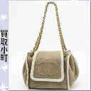 Chanel (CHANEL) Mouton CC mark accordion bag beige gold bracket Coco make fur W chain shoulder bag chain bag flap bag matelasse line A19282 Y02891 ACCORDION BAG %