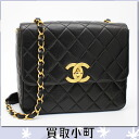 Vintage % off classic flap bag chain bag Chanel matelasse chain shoulder bag black lambskin gold bracket matelasse line tilted seat black