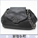 Chanel CC mark accordion chain shoulder bag black lambskin Crossbody flap bag chain bag tilted seat matelasse line 20% off