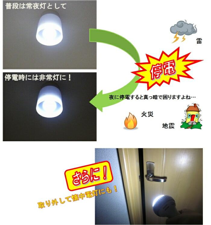 普段は常夜灯として、停電時には非常灯に。取り外して懐中電灯(ライト)にもなります。