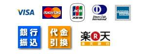 visa/master/JCB/Diners/AMEX/銀行振込/代金引換/楽天銀行