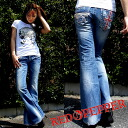 Union Jack red pepper ( RED PEPPER ) semi baggy denim jeans women's RED PEPPER bootcut series 5473!