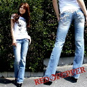 Red pepper ( RED PEPPER ) REDPEPPER ladies wing embroidery semi baggy denim jeans 5472!