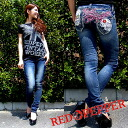 2012 Spring summer new red pepper jeans ( RED PEPPER ) REDPEPPER ladies レトロスカル embroidered skinny denim jeans 5592