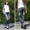 Lolita jeans ( LOLITA JEANS ) Womens skull skull embroidery ボーイズストレート denim jeans denim boy friend 718-3! Red pepper RED PEPPER