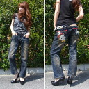 Lolita jeans ( LOLITA JEANS ) men's & ladies ' dog embroidery ボーイズストレート denim jeans denim boy friend 1001! Red pepper RED PEPPER