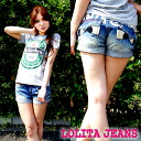 ロリータジーンス (LOLITAJEANS ) ladies cute embroidery packed with denim shorts 1263! Red pepper RED PEPPER