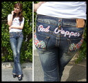 Red pepper jeans ( RED PEPPER ) Womens bootcut denim jeans REDPEPPER Native American インディアンウィング embroidered bootcut denim jeans 5550!