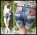 Embroidery-packed short-length ロリータジーンス (LOLITAJEANS ) ladies cute boyfriend jeans 1178! Red pepper RED PEPPER