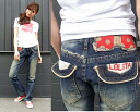 Lolita jeans ( LOLITA JEANS ) Lolita boys straight denim 1048 Ribbon dot pattern emblem embroidery denim jeans! Red pepper RED PEPPER