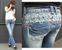 Red pepper jeans ( RED PEPPER ) REDPEPPER ladies 5622-1 spring summer new スリムブーツ cut jeans denim flower floral embroidery Alchemist!