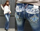 Red pepper jeans (RED PEPPER) REDPEPPER Lady's feather motif wing embroidery slim bootcut denim jeans 5610!