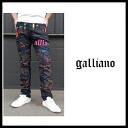 Galliano (Galliano) men's crashes denim jeans black damaged denim pants YR2017 82308