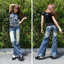 Lolita jeans ( LOLITA JEANS ) flower flowers embroidered flares baggy jeans denim 236! Red pepper RED PEPPER