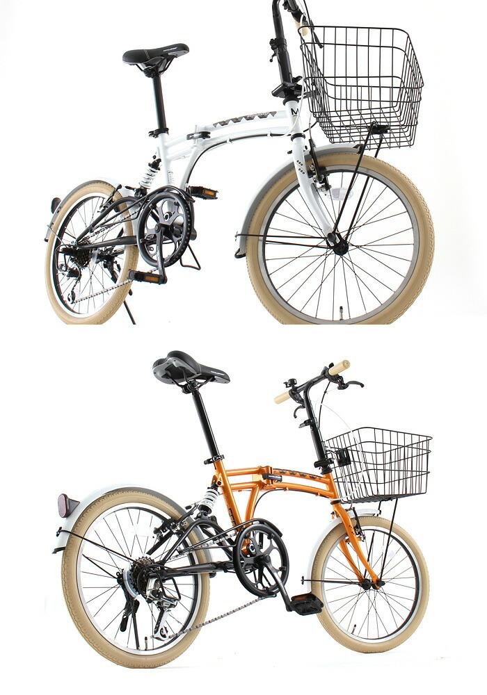 20インチ 折りたたみ自転車 M6 [ シマノ7段変速 カギ ライト カゴ 自転車  ドッペルギャンガー DOPPELGANGER ]
