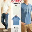 AVIREX avirex stars and stripes motif embroidered patch T shirt TYPE BLUE print T shirt men's fashion men short sleeve T shirt military V neck casual distressed