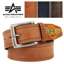 ALPHA alpha one point emblem leather belt men military vintage real leather skin casual American casual square