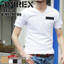 AVIREX avirex FATIGUE short sleeve V Neck T shirt mens fashion men short sleeve T shirt pocket military patch Army V neck fatigue