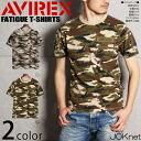 AVIREX avirex camouflage pattern fatigue short sleeve T shirt mens fashion men short sleeve T shirts Camo pattern Pocket military patch V neck FATIGUE