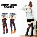 300 yen! Argyle knee high sox Lady's socks over knee-sock legware rhinoceros high sox long traditional fashion pattern