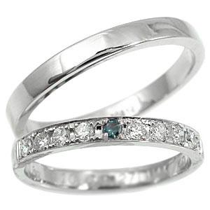 【送料無料・結婚指輪】ペアリング 結婚指輪 マリッジリング プラチナ ダイヤモンド ブルーダイヤンド ハーフエタニティ【工房直販】