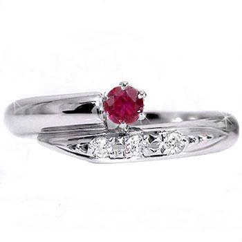 【送料無料】ピンキーリング:ルビーダイヤモンドリング:プラチナリング:指輪【工房直販】