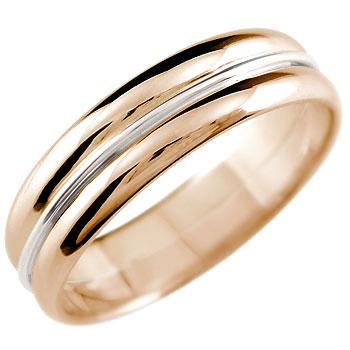 ピンクゴールドk18 リング 指輪 プラチナ コンビネーションリング