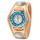 Watch mens leather leather KC, s ケイシイズ: resabreswatch 3 double-stitched Turquoise Concho